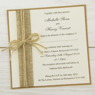 Rustic Burlap Layered Square Wedding Invitation