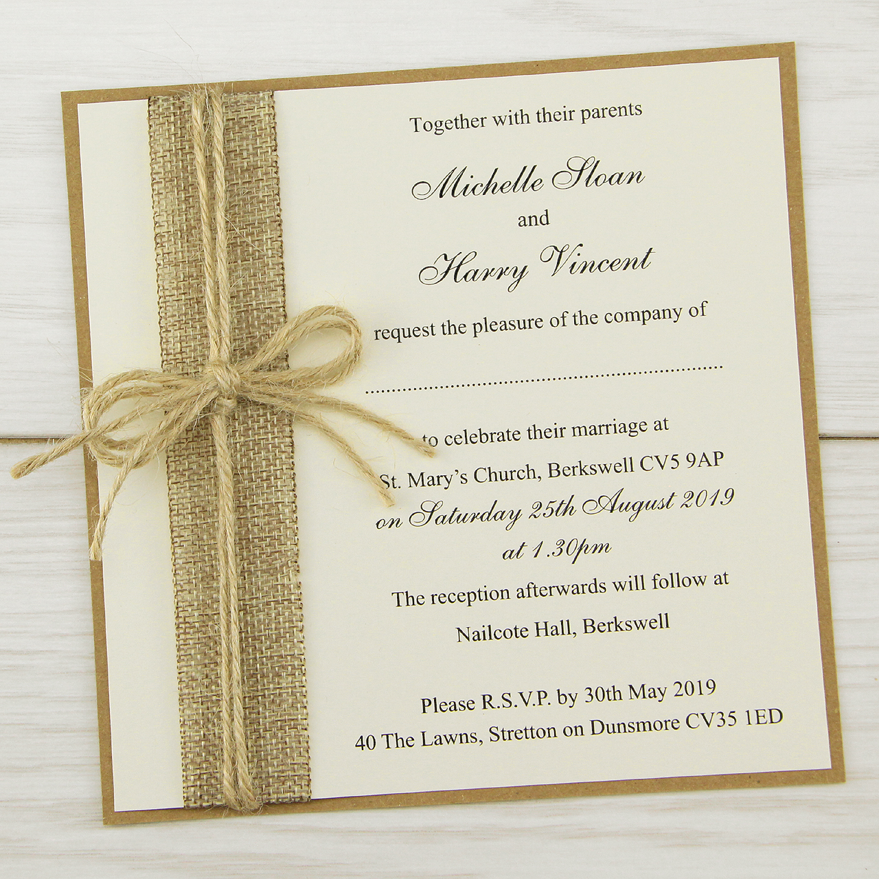Rustic burlap layered square pure invitation wedding invites for Wedding invitation cards nelspruit
