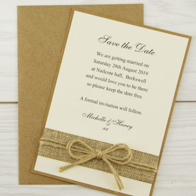 Rustic Burlap Save the Date