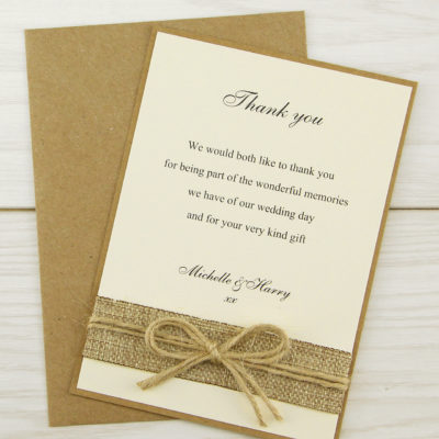 Rustic Burlap Thank you Card