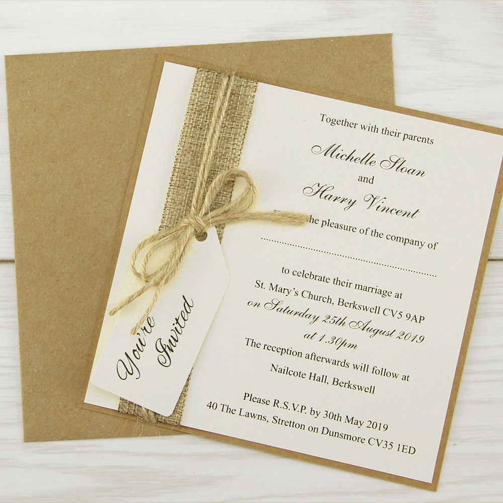Wedding Invitation Book Style: Rustic Burlap Layered Square With Tag Wedding Invitation