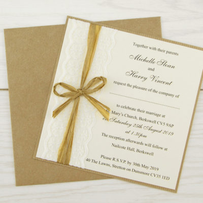 Rustic Lace Layered Square Wedding Invitation