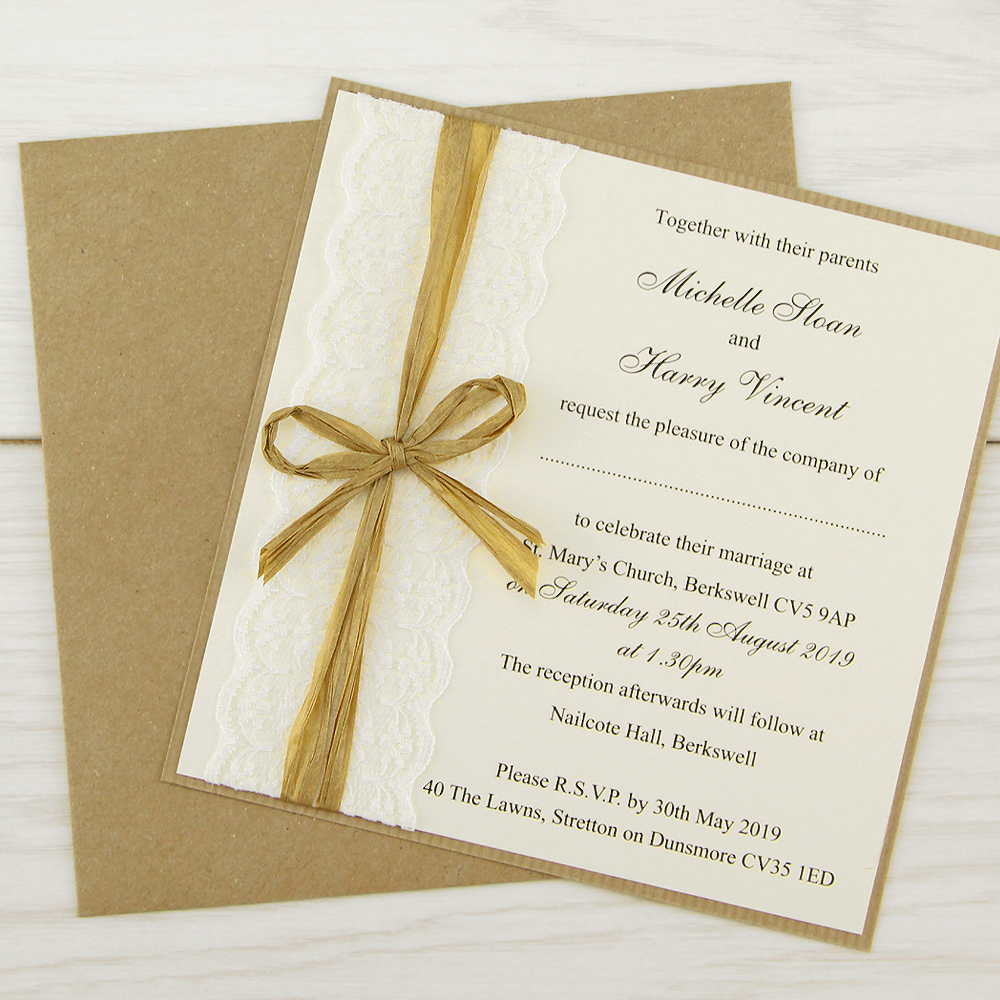 Rustic Lace Layered Square | Pure Invitation Wedding Invites