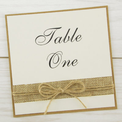 Rustic Burlap Table Name / Number