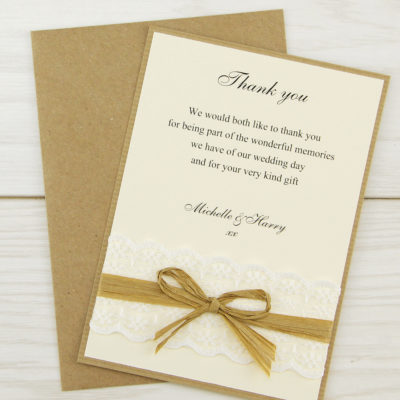 Rustic Lace Thank you Card