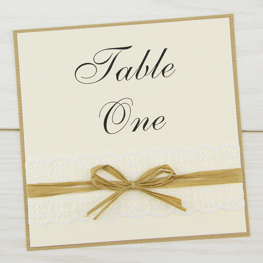 Rustic Lace Table Name Number