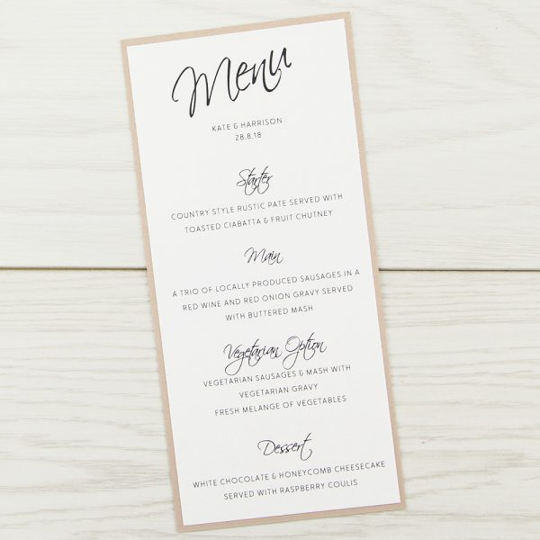 Scriptana Menu Pure Invitation Wedding Invites