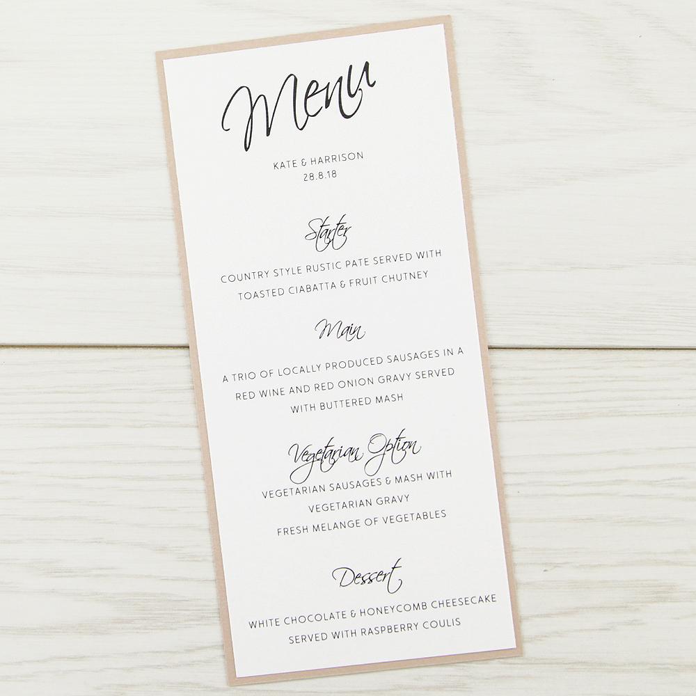 Scriptana Menu Pure Invitation Wedding Invites