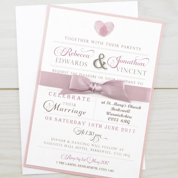 Wedding Invitation Printing.Thumb Print Parcel Wedding Invitation