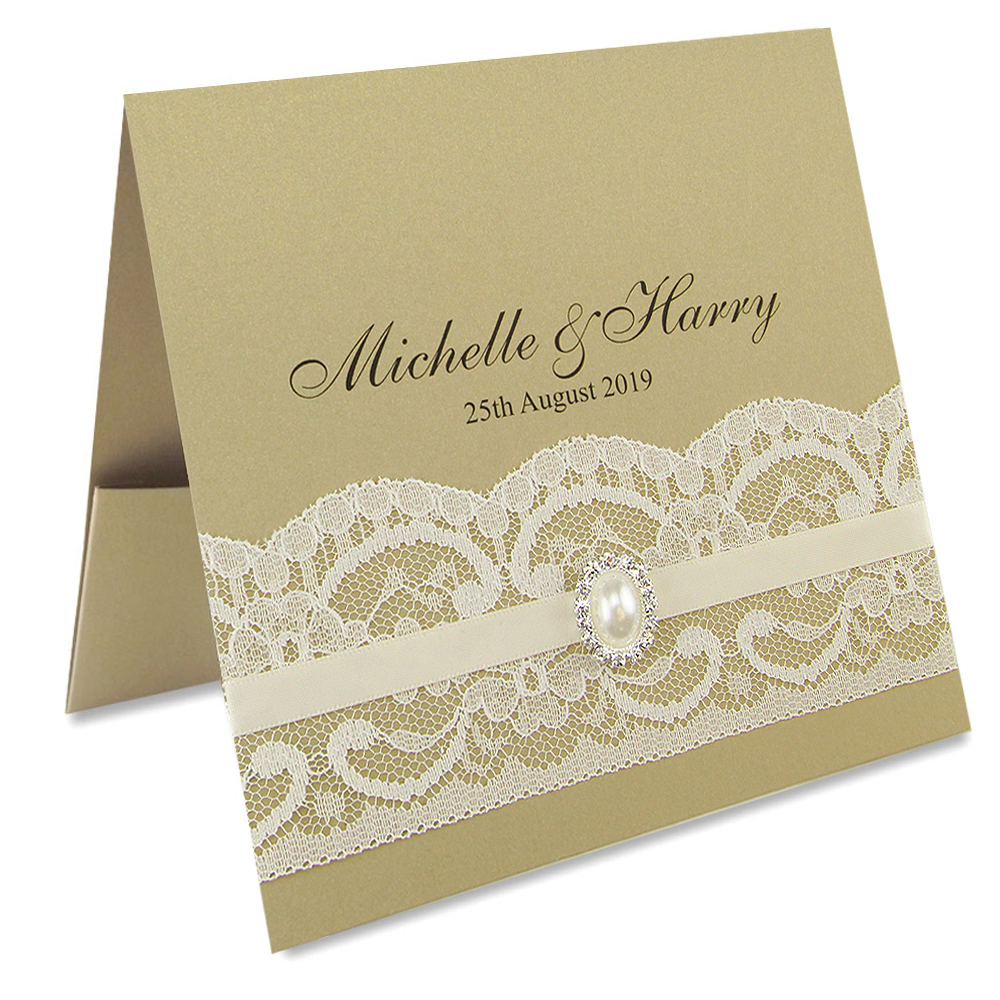 Vintage Wedding Invite: Vintage Lace Flat Front Pocketfold Wedding Invitation