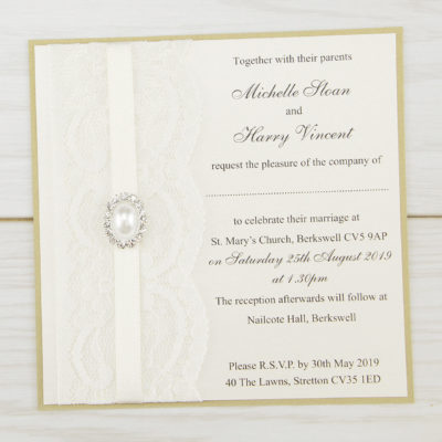 Vintage Lace Layered Square Wedding Invitation