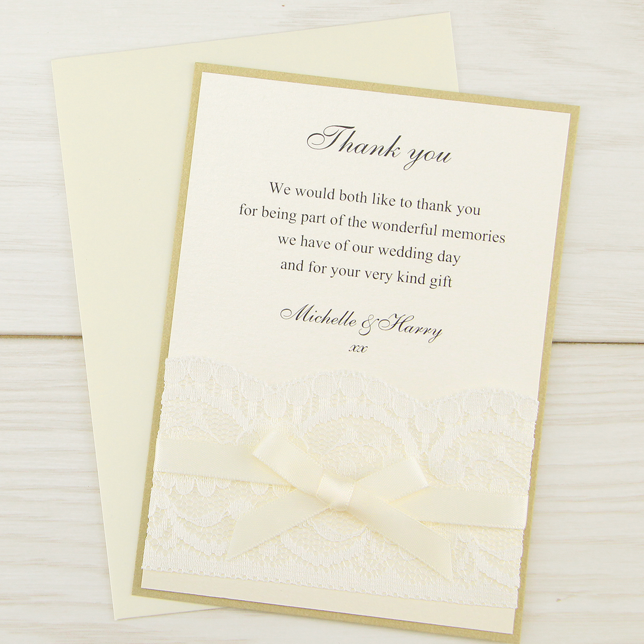Vintage Lace Thank you Card | Pure Invitation Wedding Invites