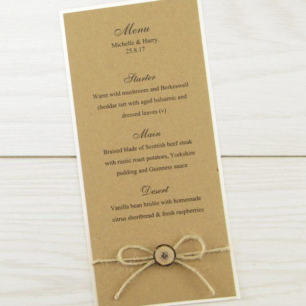 Rustic menu with button pure invitation wedding invites stopboris Image collections