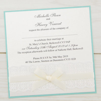 Embroidered Lace Layered Square Wedding Invitation
