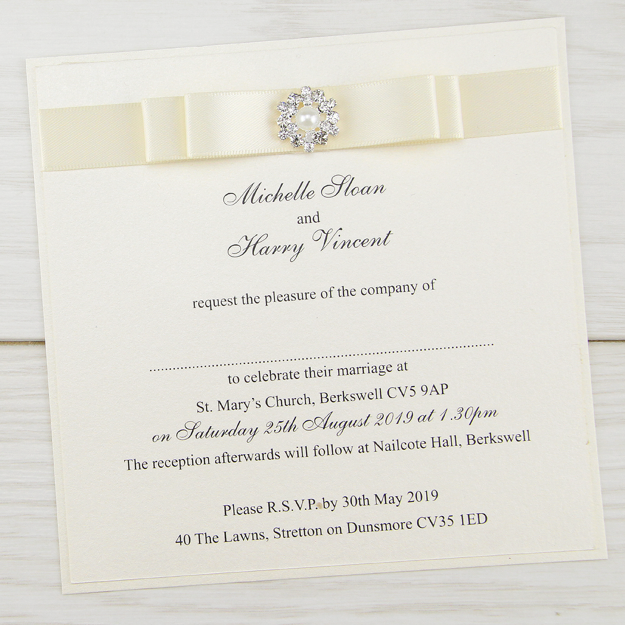 Wedding Images For Invitations: Dior Bow Layered Square Wedding Invitation