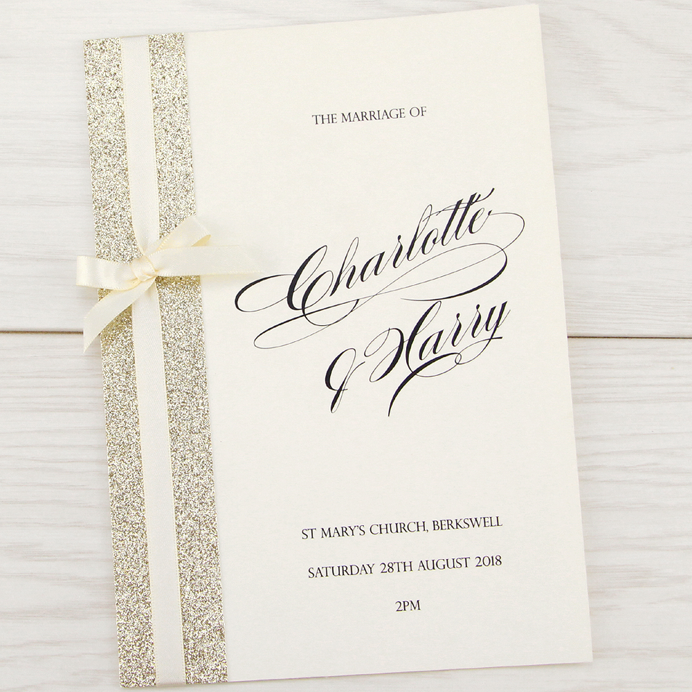 Wedding Invitations And Order Of Service: Iris With Glitter Order Of Service