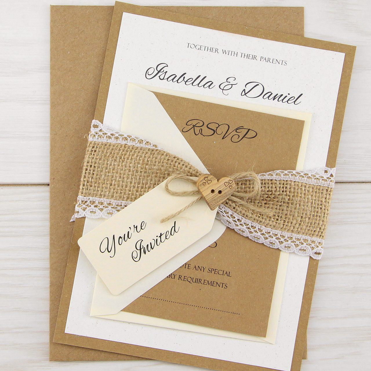 Sample Wedding Invitation Card: Dakota Parcel Wedding Invitation