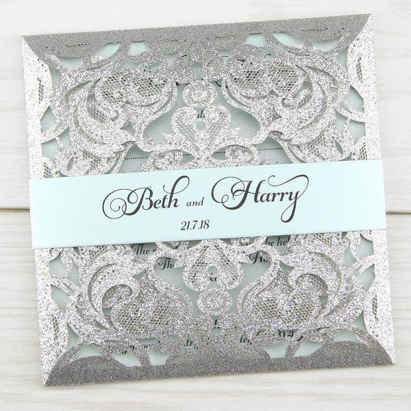 Cheap Shabby Chic Wedding Invitations: Farrah Full Glitter Personalised Band Wedding Invitation