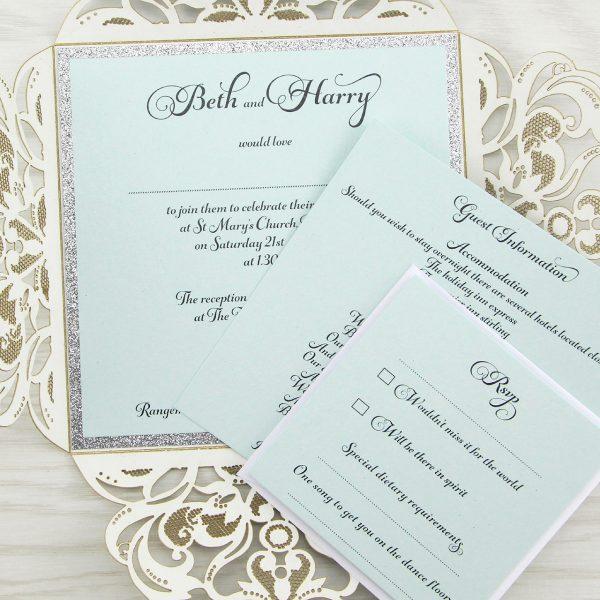 36f83788 Farrah Full Glitter Personalised Band Wedding Invitation | Pure ...