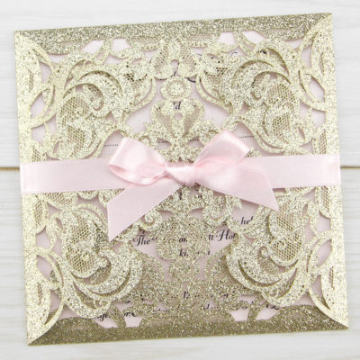 Farrah Full Glitter with Bow Wedding Invitation