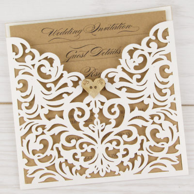Ruby Laser with a Rustic Heart Wedding Invitation