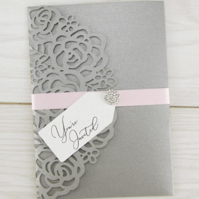 Amelia with Diamante Cluster / Tag Wedding Invitation