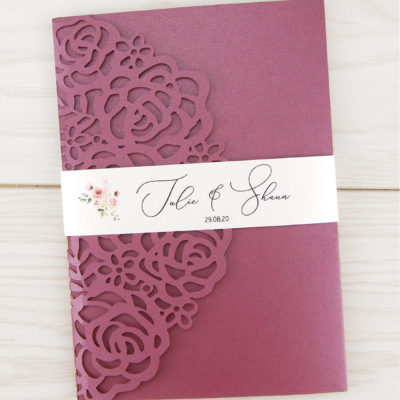 Amelia Rose Belly Band Wedding Invitation