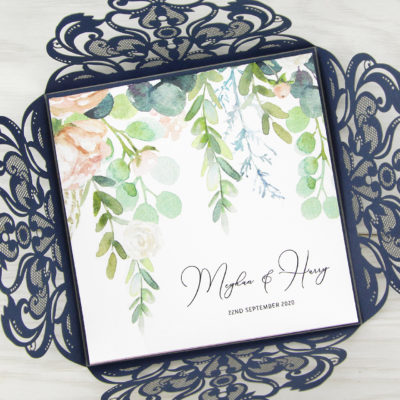 Farrah with Personalised Floral Overlay Wedding Invitation