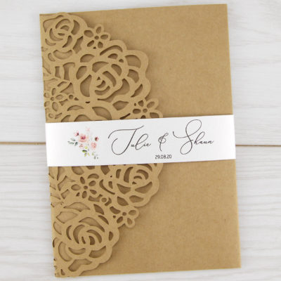 Amelia Rose Belly Band (Rustic) Wedding Invitation
