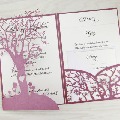 Laurel Tree Pocketfold with Belly Band Wedding Invitation