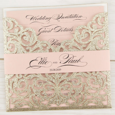 Glitter Ruby with Belly Band Wedding Invitation