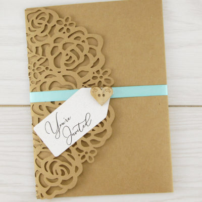 Amelia with Wooden Heart/Tag Wedding Invitation