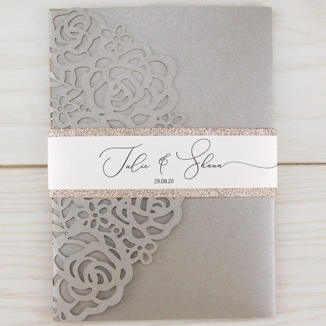 Amelia with Glitter and Belly Band Wedding Invitation | Pure Invitation  Wedding Invites