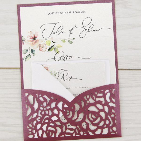 Amelia Pouch With Rose Artwork Wedding Invitation Pure Invitation