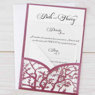 Laurel Pouch Belly Band Font Wedding Invitation