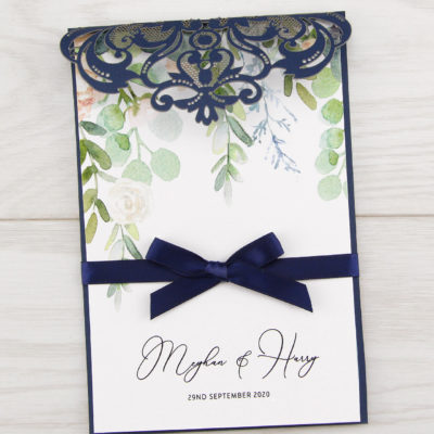 Farrah with Personalised Floral Overlay Evening Invitation