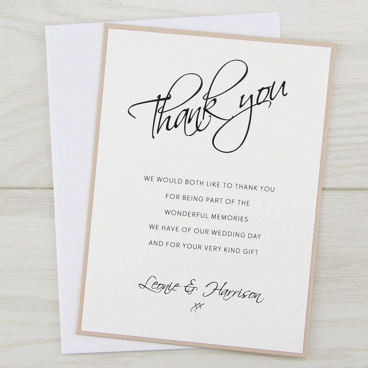 scriptana thank you card  pure invitation wedding invites