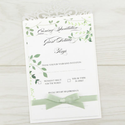 Ruby with Greenery Evening Invitation