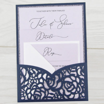 Amelia Glitter Pouch Wedding Invitation