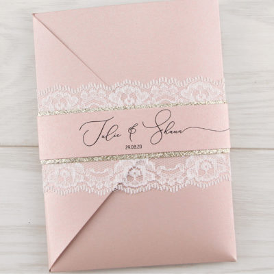 Belle Glitter Pocketfold Wedding Invitation