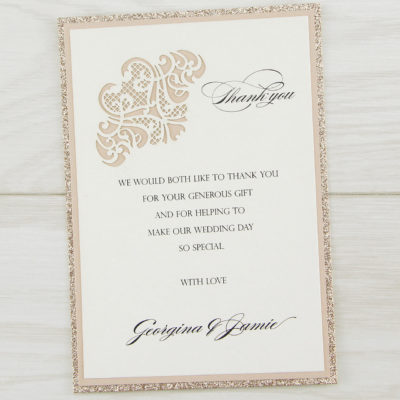 Josephine Glitter Thank you Card