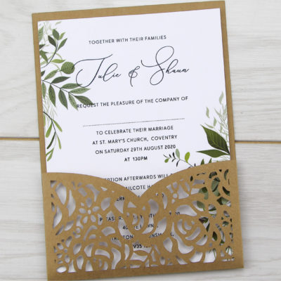 Amelia Pouch with Greenery Artwork Wedding Invitation