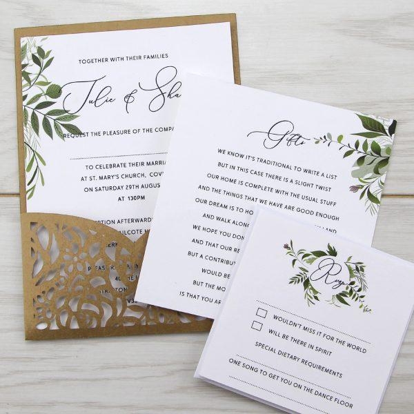 Amelia Pouch With Greenery Artwork Wedding Invitation Pure