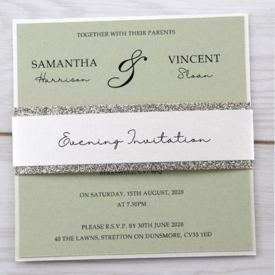 Avril Layered Square Belly Band Wedding Invitation