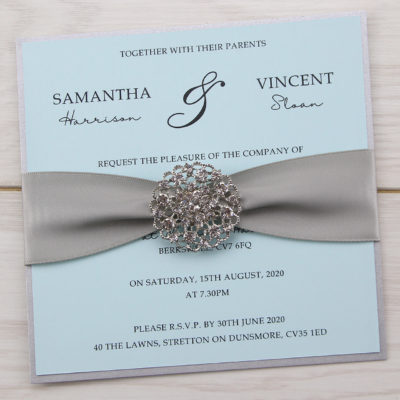 Avril with Embellishment Square Wedding Invitation