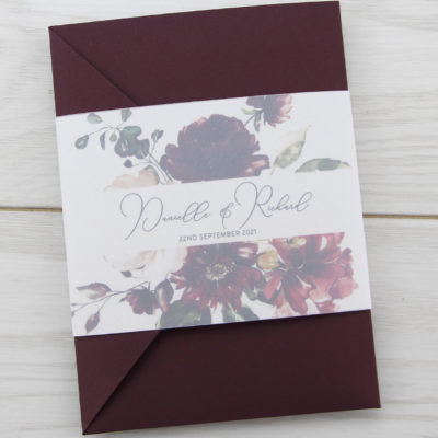 Bryony Claret Pocketfold Wedding Invitation