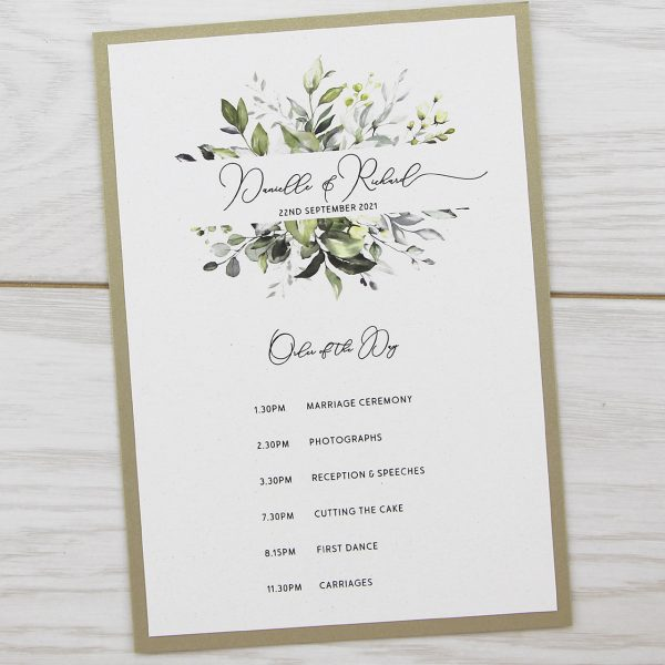 When Should Wedding Invitations Be Ordered: Bryony Greenery Order Of The Day
