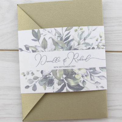 Bryony Greenery Pocketfold Wedding Invitation