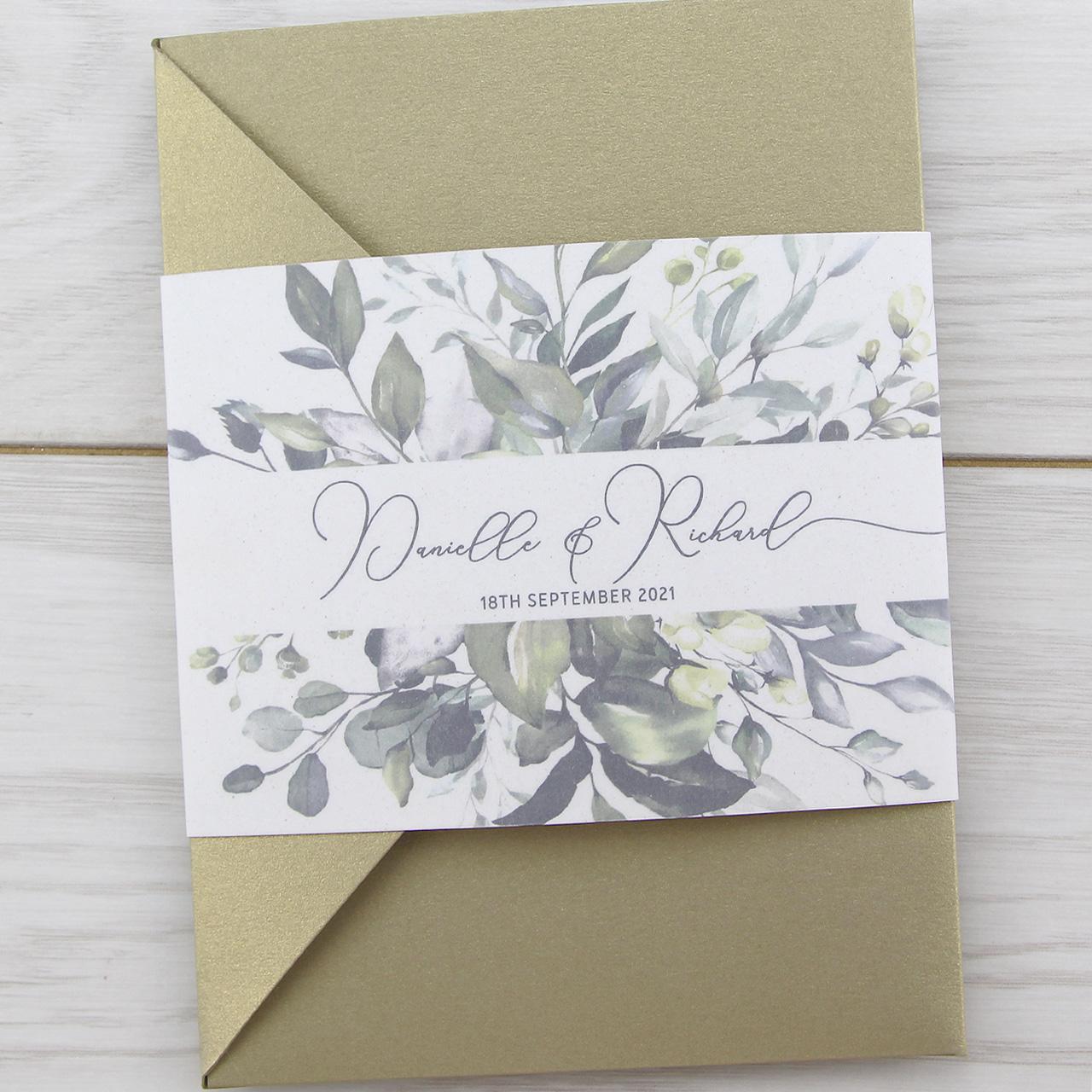 Wedding Invitations Company: Bryony Greenery Pocketfold Wedding Invitation