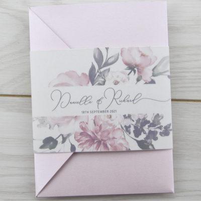 Bryony Pinks Pocketfold Wedding Invitation